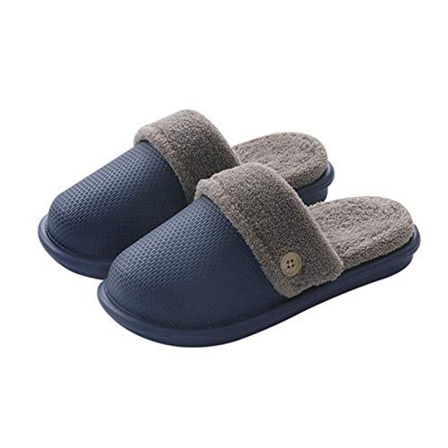 Ladies Mens Comfort Memory Foam Slippers,Women Autumn Winter Warm Anti-Slip Fleece House Home Indoor Slippers Shoes (Blue, 44-45)