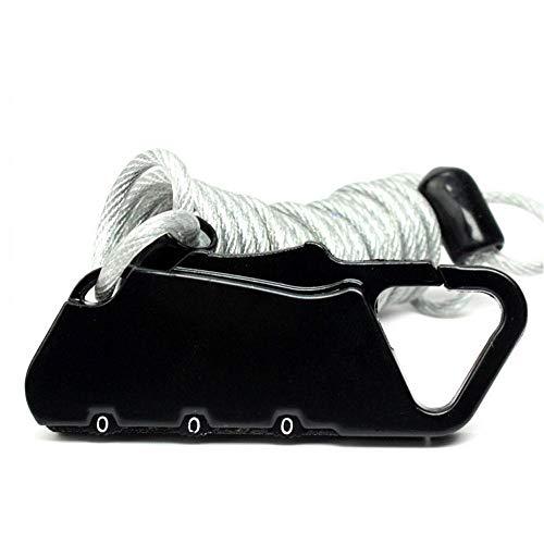 AOLVO - Cable de Bloqueo para Equipaje, Mini 3 dígitos, para Equipaje, Maleta, Mochila, Cable de Bicicleta, con contraseña, Seguro con Cuerda de Alambre de Acero Largo retráctil antirrobo