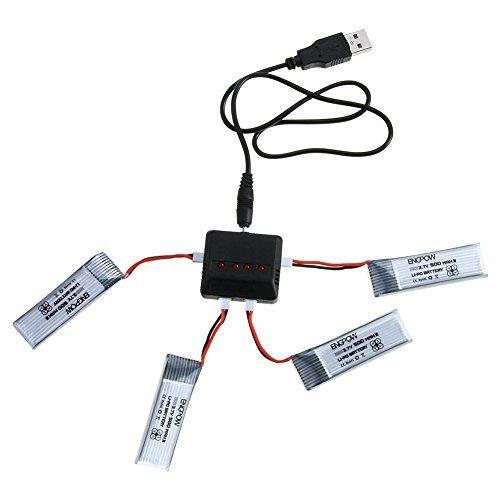 MIUMIIUMANN JJRC H37 Elfie RC Drohne Lipo Akku, 4 X 3.7V 500mAh LiPo-Akkus + X4 4 in 1 Ladegerät für JJRC H37 H73 H107D H107L H107L H107P H107D H107D H107L H107P H107C H107D JXD391