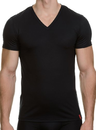 Bruno Banani Herren T-Shirt V-Shirt Base Line, Einfarbig, Gr. Large (Herstellergröße: 6), Schwarz