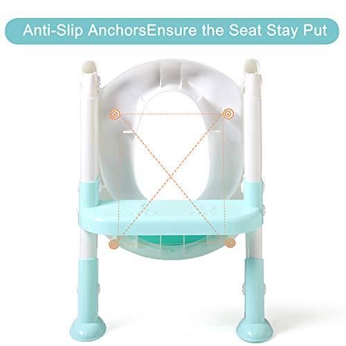 PandaEar Potty Training Seat Toilet with Step Stool Ladder, Kids Boys Girls Toddlers-Comfortable Safe, Anti-Slip Pads Ladder (Light Blue)