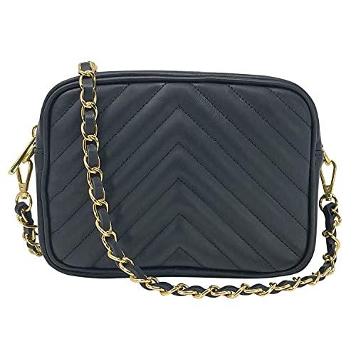 Parubi, Bolso de mujer de piel auténtica acolchada, fabricado en Italia, modelo Lola, pequeño bolso Matelassé con cadena, bolso bandolera para mujer y niña, elegante, Negro (Negro) - PRB4101