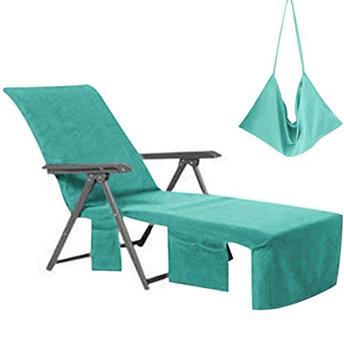 VOCOOL Lounge Chair Cover Microfiber Beach Towel Swimming Pool Lounge Chair Cover with Pockets Holidays Sunbathing Quick Drying Terry Towels Green