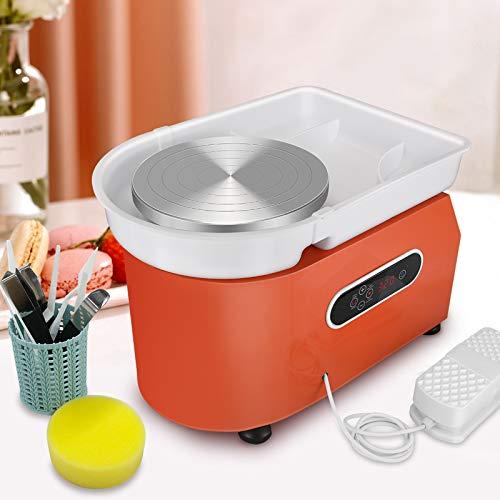 InLoveArts 25CM Töpferscheibe Maschine mit LCD-Anzeige 350W Pottery Wheel Keramik Clay Maschine töpferscheibe fußantrieb für Keramikarbeiten Clay mit Waschbecken mit abnehmbarem ABS-Becken
