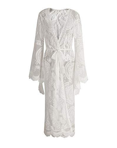 X-xyA Women Es Bohemian Lace Beach Swimsuit Cover Ups Summer Plus Size Long Kimono Cardigan,White,M