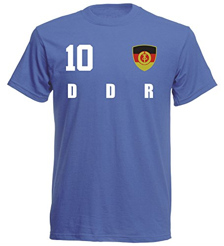 DDR Deutschland WM 2018 T-Shirt Trikot Style - Blau ALL-10 - S M L XL XXL (L)