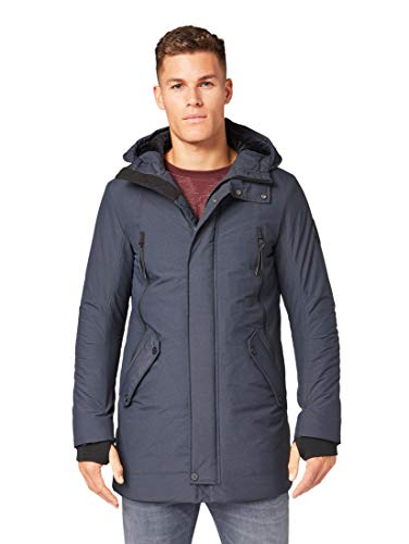 TOM TAILOR Herren Kapuzen Parka, Blau (Dark Blue Structure 13246), M