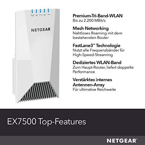 NETGEAR WLAN Mesh Repeater EX7500 WLAN Verstärker, AC2200 Tri Band WiFi, Abdeckung 4 bis 5 Räume & 40 Geräte, Geschwindigkeit bis zu 2200 MBit/s, smartes Mesh WLAN Roaming