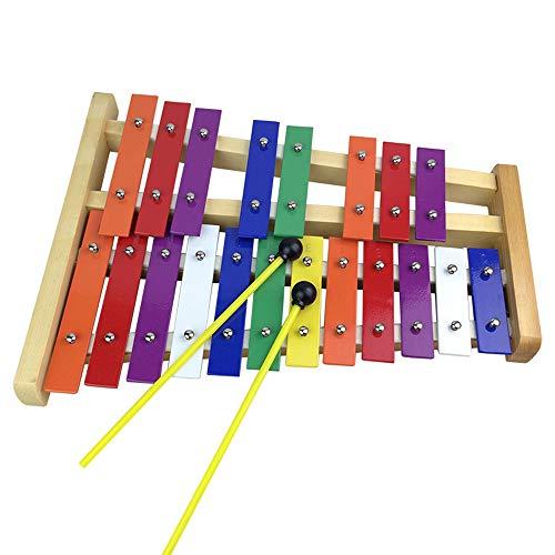 Glockenspiel Xylophon, Profi Holz Sopran Full Size Schlaginstrument mit 25 Metall-Schlüssel für Erwachsene & Kinder - Mit 2 Holz Schlägel