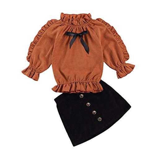 Kleinkind Kinder Mädchen Cord Rüschen Langarm Blusen Tops + Knopf Mini A-Linie Rock 2Pc Herbst Winter Outfit Set