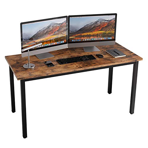 """IRONCK Computer Desk, 55"""" Office Desk with 0.7"""" Thicker Tabletop, 1.6"""" Sturdy Metal Frame, Simple Study Writing Table, Industrial Style Gaming Desk Table for Home Office Vintage Brown"""
