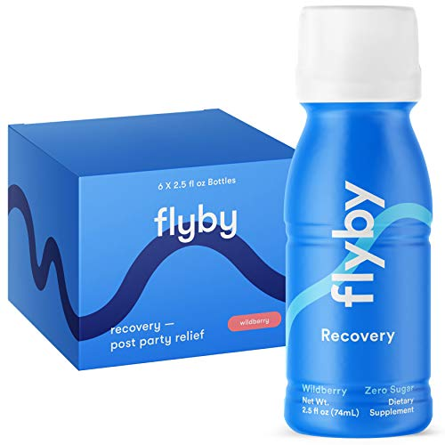 Flyby Alcohol Recovery Drink Shot for Better Mornings & Rapid Hydration Aid (6 Pack) - Made in USA - Electrolytes, Dihydromyricetin (Dhm), N-Acetyl-Cysteine, Chlorophyll, Prickly Pear & Milk Thistle