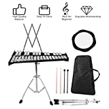 Percussion Glockenspiel Bell Kit,30 Notes Fodable Educational Glockenspiel Bell Kit With Adjustable Height Frame, Music Stand, Practice Pad, Bell Mallets, Wooden Drumsticks & Carrying Bag