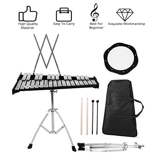InLoveArts Set Glockenspiel con supporto, kit per campana Glockenspiel educativo da 30 note, strumento musicale a percussione manuale con cornice rego