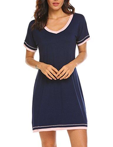 Ekouaer Women Sleepwear V Neck Boyfriend Nightgown Short Sleeve Lounge Gown (Navy,L)