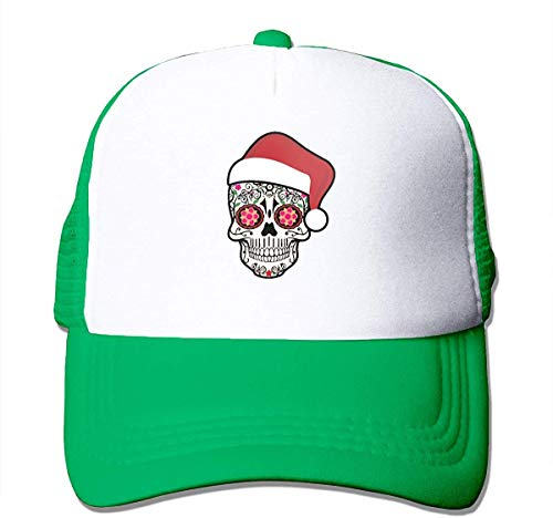 kaifaquqiaoqibaihuodian Christmas Santa Sugar Skull Adjustable Mesh Trucker Baseball Cap Men Or Women Dad Hat Fashion5971