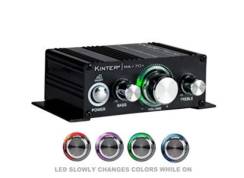 Kinter MA170+ - Mini amplificador de 2 canales, 2 x 18 W, entrada RCA de audio con fuente de alimentación de 12 V, 3 A, color negro