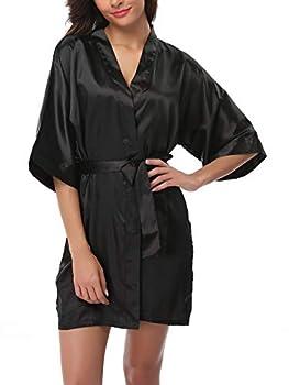 FADSHOW Women s Satin Kimono Robes Short Silk Bathrobes Loungewear,Black,Large