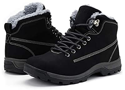 WHITIN Men's Winter Shoes Snow Boots Outdoor Trekking for Weather Warm Work Thermo Insulated Fully Fur Lined Nubuck Leather Hiking Waterproof Lace Up Anti-Slip Hunting Black Size 10