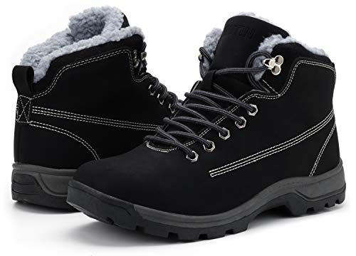 WHITIN Men's Winter Shoes Snow Boots Outdoor Trekking for Cold Weather Warm Work Insulated Fully Fur Lined Nubuck Leather Muck Water Proof Waterproof Anti Slip Wide Width Construction Black Size 8