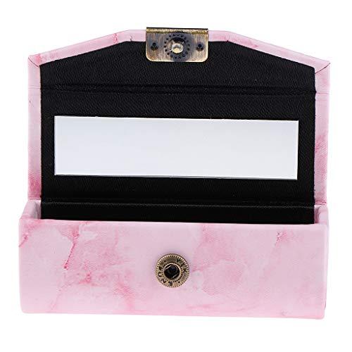 Fenteer Etui à Rouge à Lèvres / Bijoux avec Miroir Portabl - Rose