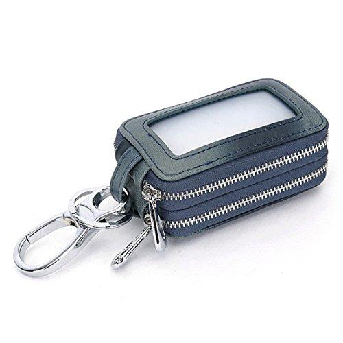 Esdrem, borsello per chiavi auto, custodia portachiavi con cerniera, borsellino unisex in vera pelle fatto a mano