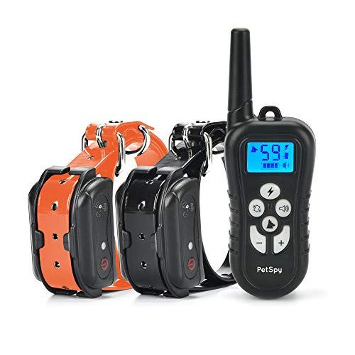 PetSpy Dual Dog Training Shock Collar for 2 Dogs with Beep, Vibration and Electric Shocking, Rechargeable and Waterproof E-Collar Remote Trainer