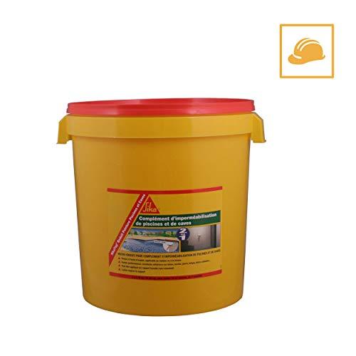 SikaTop Enduit Peinture Piscines et Caves, Complément d'imperméabilisation en kit, 18,48kg, Blanc
