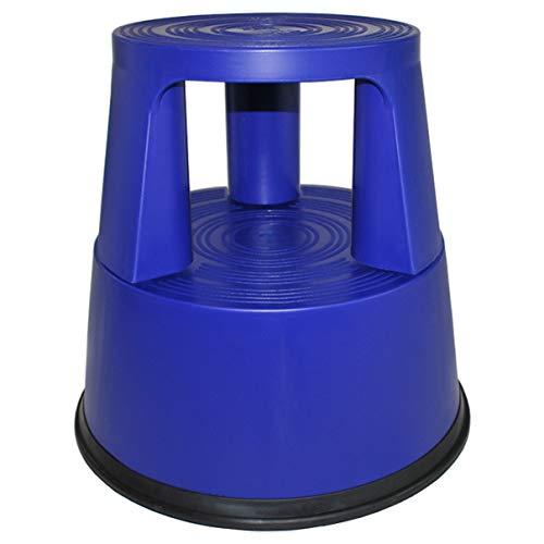 HELO 'K4' Elefantenfuß Tritthocker aus Kunststoff (blau) mit 150 kg belastbar, Anti-Rutsch Standring und Trittflächen, Rollhocker Steighilfe mit 3 versenkbaren Rollen, GS und TÜV Rheinland geprüft…