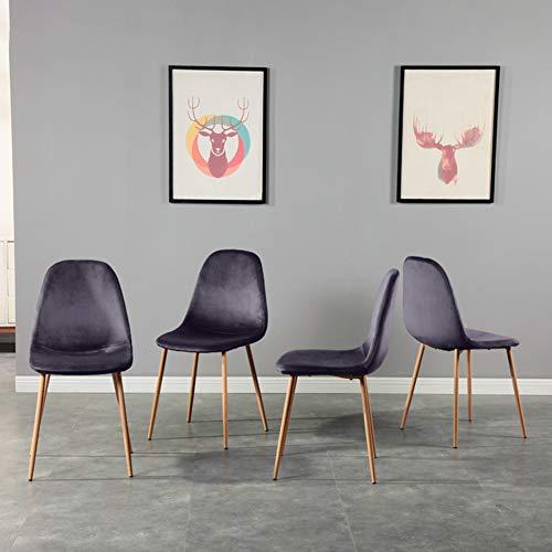 GOLDFAN 4er Set Esszimmerstuhl Stoff Stuhl Moderner Eleganter Wohnzimmer Stuhl Küchenstühle mit Metallbeine