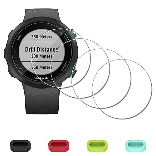 [4 Stück] Displayschutzfolie für Garmin Swim 2 GPS Schwimmen Smartwatch + Staubschutzstöpsel aus Silikon, iDaPro gehärtetes Glas, kratzfest, blasenfrei, einfache Installation