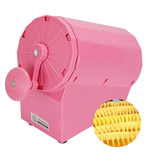 Huanyu Manual Tornado Potato Slicer Cutter Hand Tornado Potato with Sausage Stainless Steel Spiral Potato Chips Making Machine for Sweet Potatoes Carrots Radishes Cucumbers (Pink ABS)