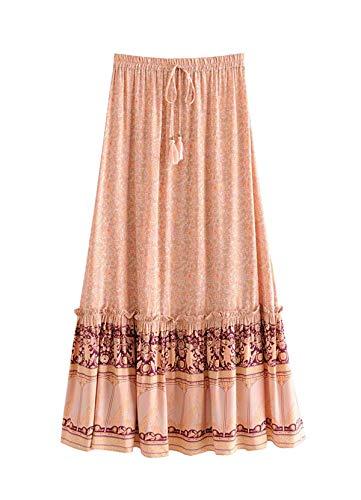 R.Vivimos Womens Summer Cotton Vintage Floral Print Boho Casual Long Skirt (Large, Orange)