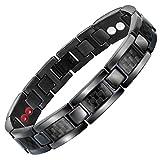 CYLSK Bracelet magnétique pour Hommes Bracelet en Acier Titane avec Aimant en Fibre de Carbone Noir,B
