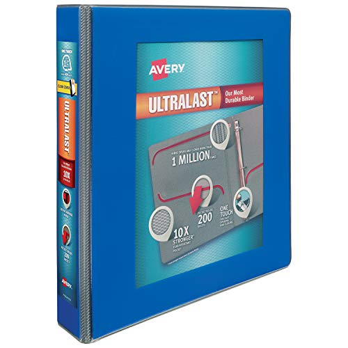 "Avery 1.5"" Ultralast 3 Ring Binder, One Touch Slant Ring, Holds 8.5"" x 11"" Paper, 1 Blue Binder (79712)"