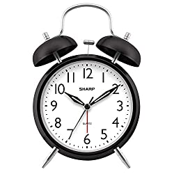 Sharp Midnight Black Twin Bell Alarm Clock – Great for Heavy Sleepers with Loud Alarm – Modern Face – Glow in Dark Hands – Backlit on Demand – Battery Operated …