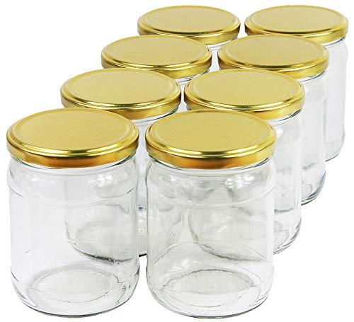 Wamat 450 ml Einweckgläser mit Deckel Gold to 82 Einmachgläser Vorratsgläser Einmachglas Weck (Menge: 12 Stück)