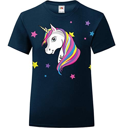 laylawson Playera Infantil de Unicornio arcoíris para niñas de 3 a 15 años Azul Azul Marino Profundo 5-6 Años