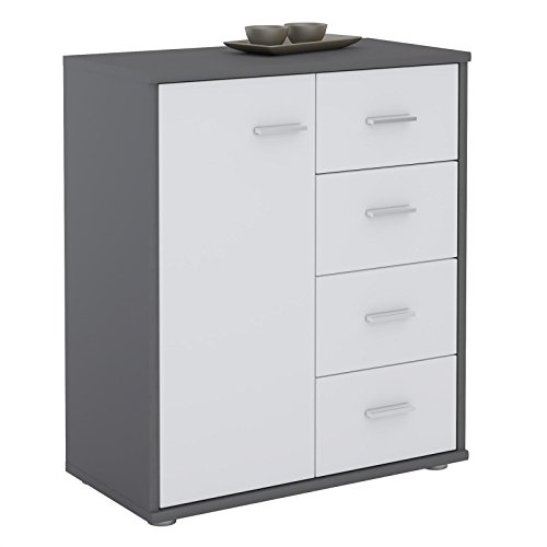 CARO-Möbel Kommode TIRANO Highboard Anrichte mit 1 Tür und 4 Schubladen in grau/weiß