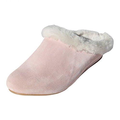 Hollert German Leather Fashion Lammfell Hausschuhe - BIEKAMP ROSA Damen Pantoffeln Schuhgröße EUR 42