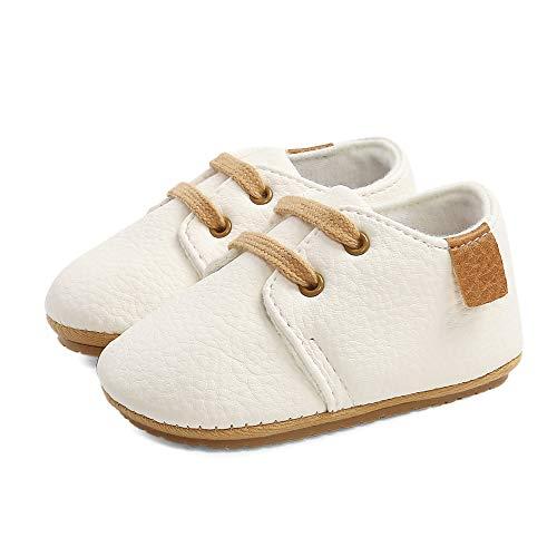 LACOFIA Sneakers per Neonato Scarpine Oxford Scarpe Primi Passi Antiscivolo per Bambino Bianco 6-12 Mesi