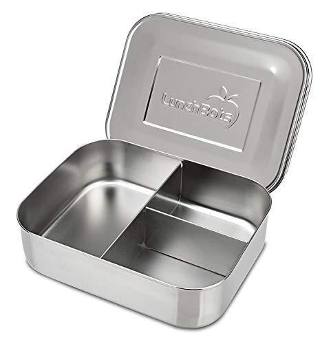 LunchBots Trio 2 Edelstahl Nahrungsmittelbehälter – DREI Abschnitt Design, perfekt für gesunde Snacks, beilagen oder Finger Foods – Spülmaschinenfest und BPA frei – Komplett Aus Edelstahl