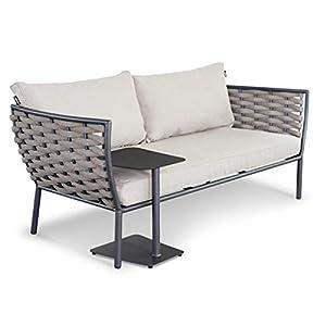 LANTERFANT – Loungebank Sanderine, Gartenbank, mit Beistelltisch, Korb-Look, Aluminium, Anthrazit, Grau