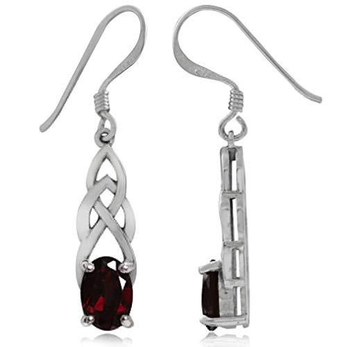 Silvershake 1.86ct. Natural Garnet 925 Sterling Silver Celtic Knot Dangle Hook Earrings