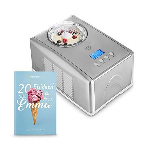 Máquina para hacer helados caseros EMMA | ice cream maker | Heladera con compresor 1,5 l | recipiente extraíble y pantalla LCD + Libro de recetas (Ingles/Alemán)