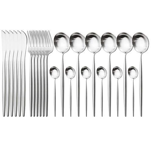 cubiertos 304 Juego de vajillas de acero inoxidable 24pcs Black Silver Cutlery Set Western Cuchillos Tenedor Cuchara Cuchara Vajilla Conjunto Cocina Sildeware Set cuberteria (Color : Silver)