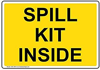 Spill Kit Inside Label Decal, 10x7 inch Vinyl for Facilities by ComplianceSigns