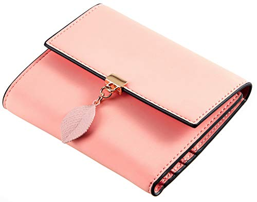Travelambo RFID Blocking Small Mini Compact Wallet Trifold Credit Card Holder Pocket Purse for Women( Pink)