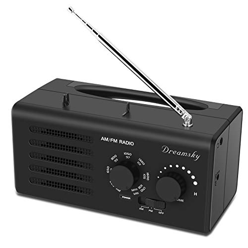 DreamSky AM FM Radio Portable with Great Reception, AC Outlet Powered D Size Battery Operated Radios with Clear Loud Sound, Transistor Radio Player with Headphone Jack, Small Gifts for Elderly Senior