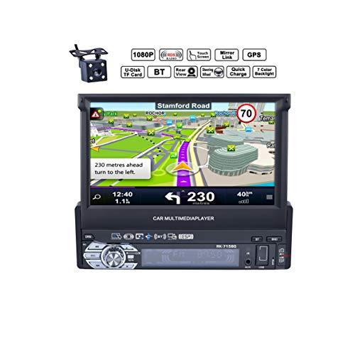 Reakosound Radio1 DIN 7 Pulgadas 1080P Radio de Coche con Pantalla Táctil retráctil automática HD Bluetooth Navegador GPS Radio FM/Am Vídeo Estéreo USB AUX cámara Trasera